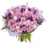 Букет из хризантем и тюльпанов