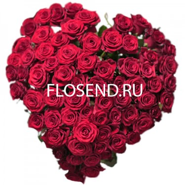 Букет 101 роза в форме сердца
