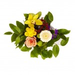 Букет из зеленой орхидеи цимбидиум и хризантемы