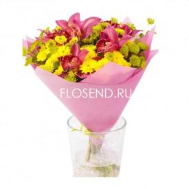 Букет из орхидей и хризантем