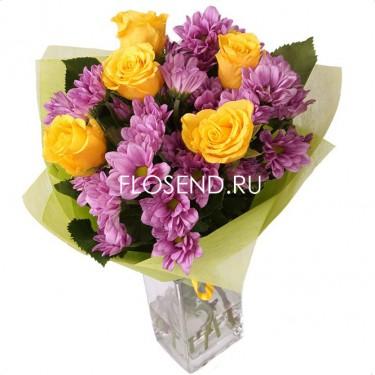 Букет из фиолетовых хризантем